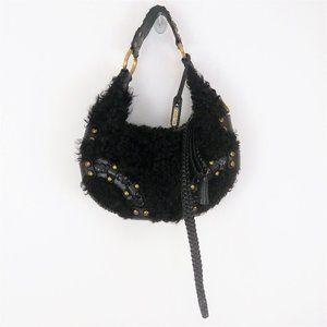 Isabella Fiore Black Fur Leather Studded Hobo Bag